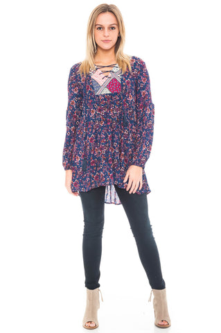 Tunic - Sheer Floral High Low Top with Pockets