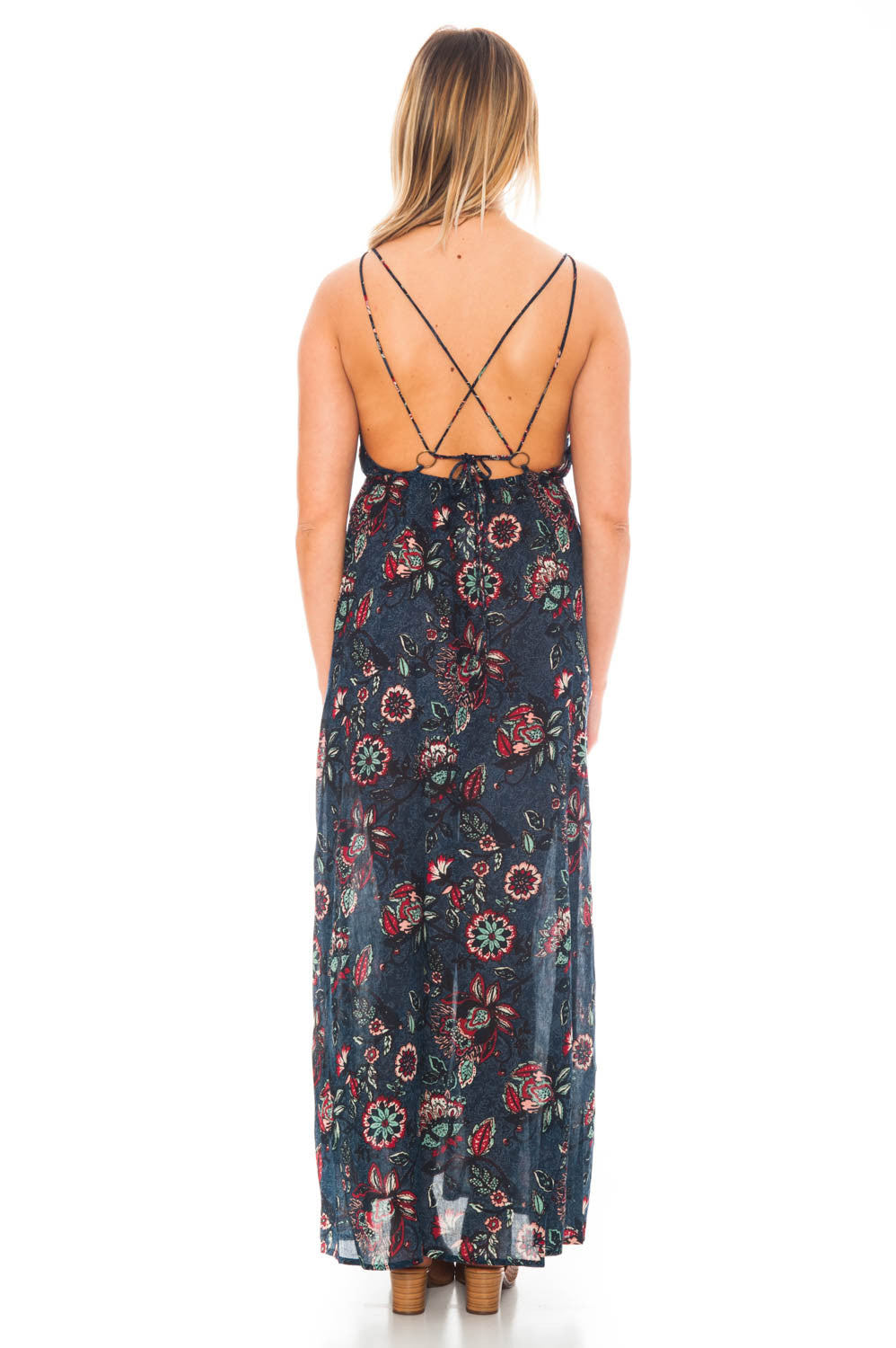 Dress - Patterned Maxi with Criss Cross Back