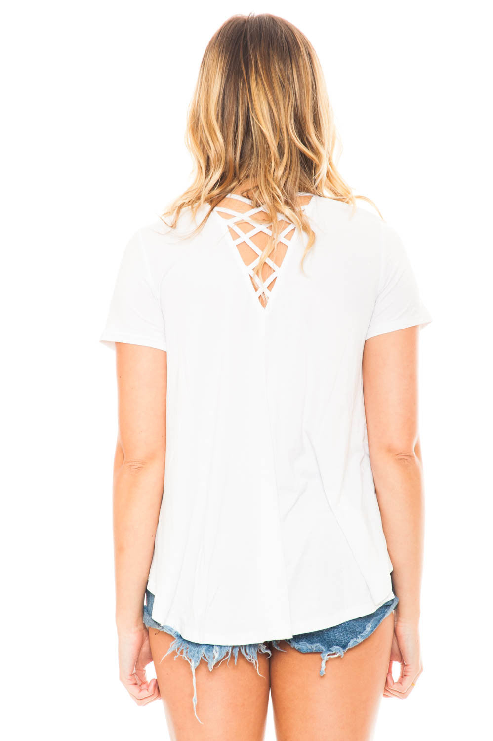 Shirt - Simple V-Neck Tee with Criss Cross Back