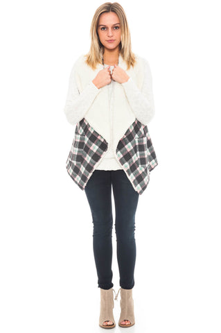 Vest - Plaid Print Sherpa Inset and Pockets (Final Sale)