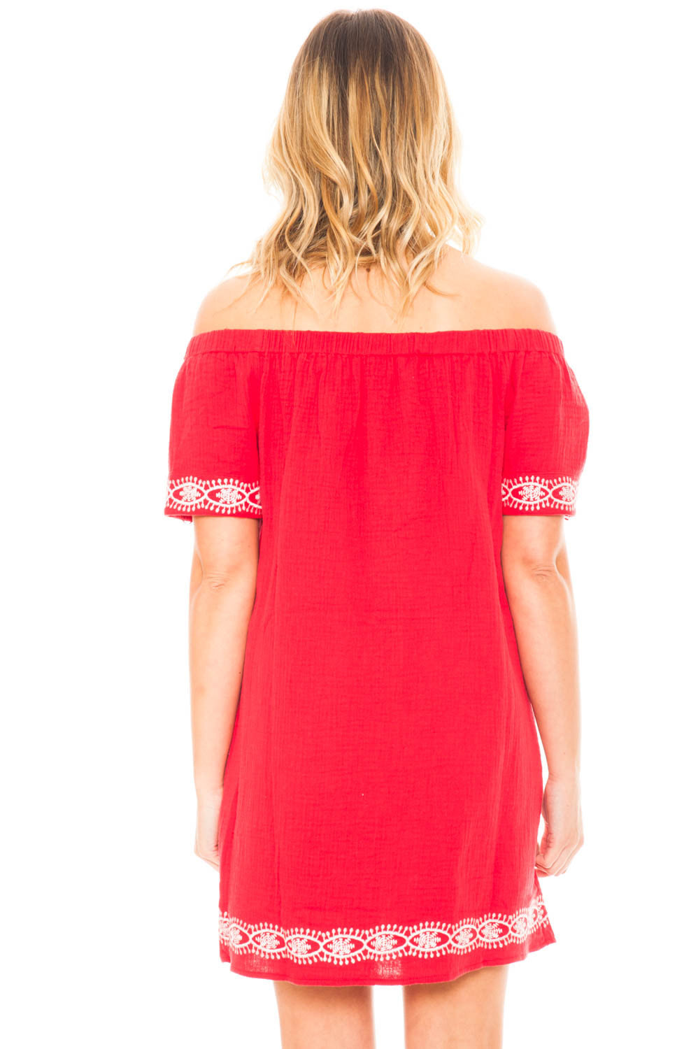 Dress - Off Shoulder Embroidered Dress