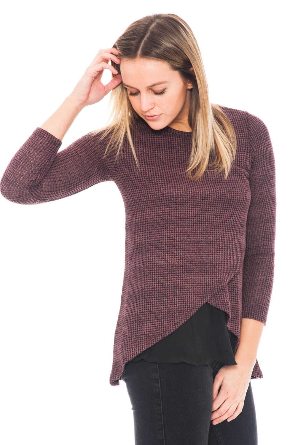 Shirt - 3/4 Sleeve Waffle Knit with an Overlap Front