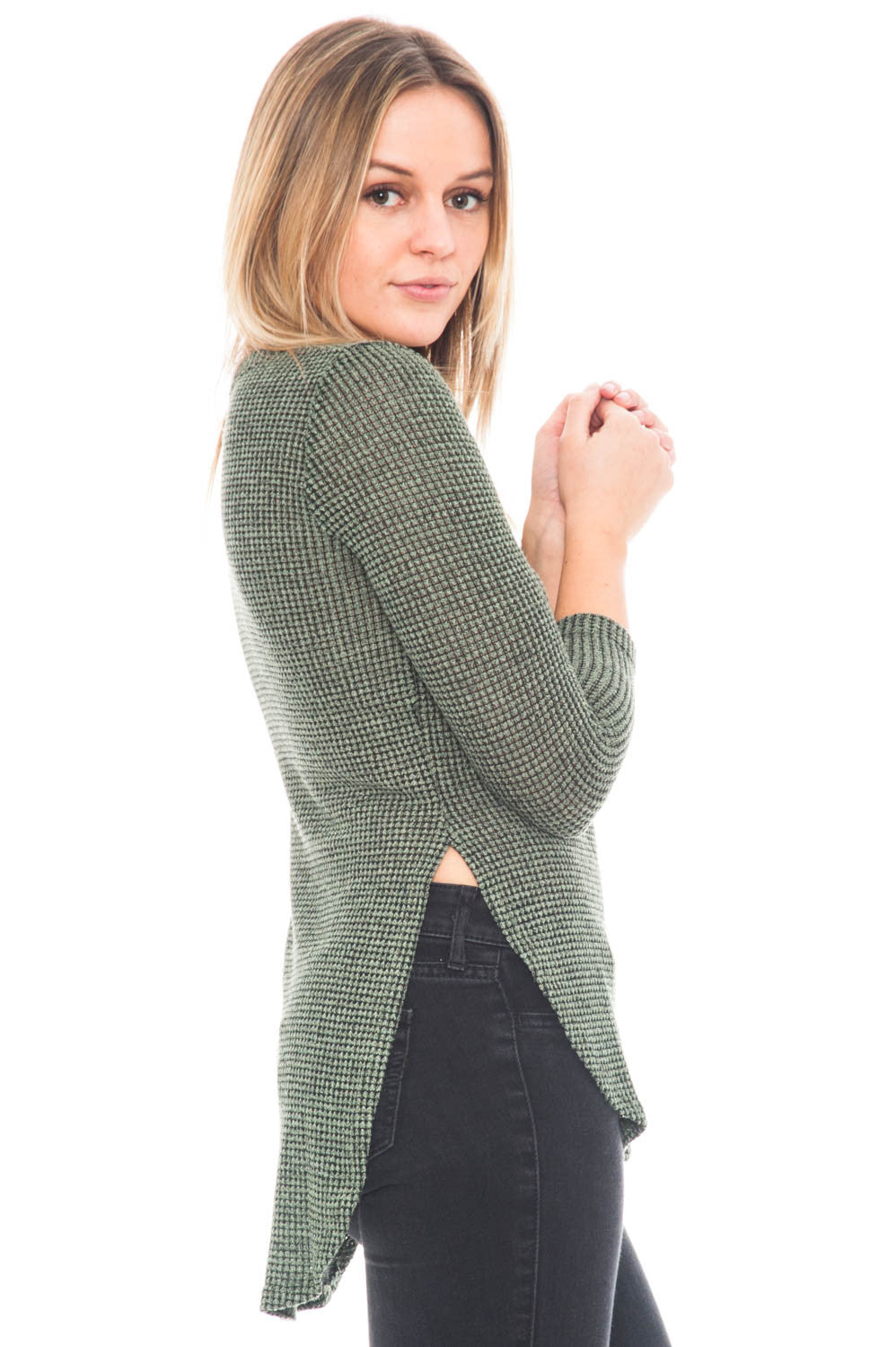 Sweater - 3/4 Sleeve Waffle Knit High Low Top
