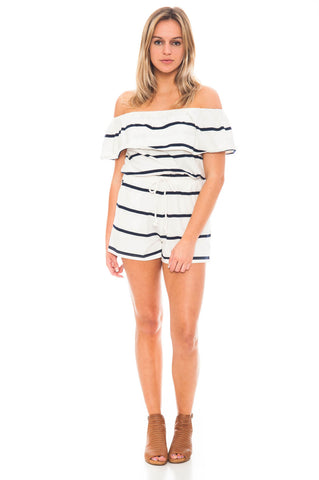 Romper - Off Shoulder Striped Romper