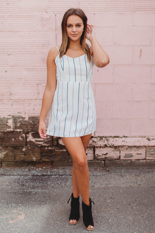 Dress - Striped Dress With Back Tie and Adjustable Straps