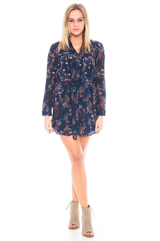 Dress - Printed Dress With Tie waist by Everly (Final Sale)