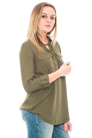Shirt - Nutmeg by BB Dakota Lace Up Top