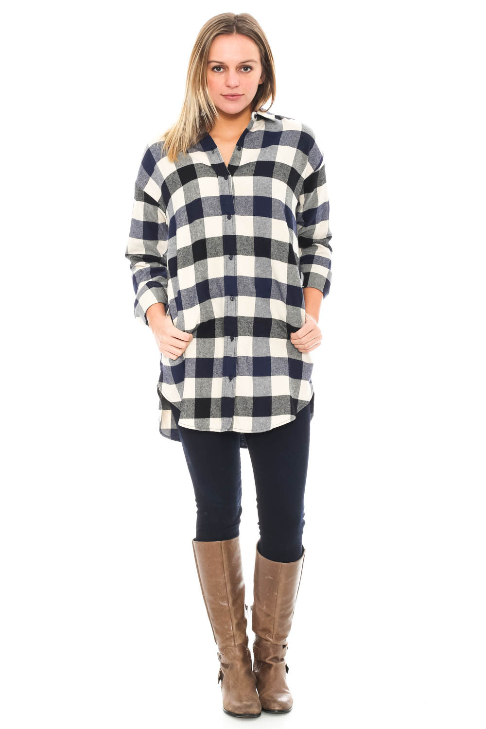 Tunic - Plaid Button Up Top