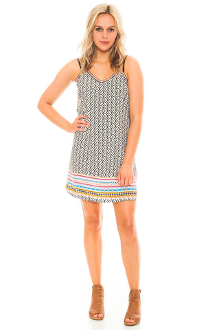 Dress - Printed Double Strap Dress by Skies Are Blue