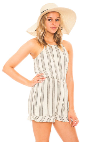 Romper - Striped Bow Back Romper by Everly
