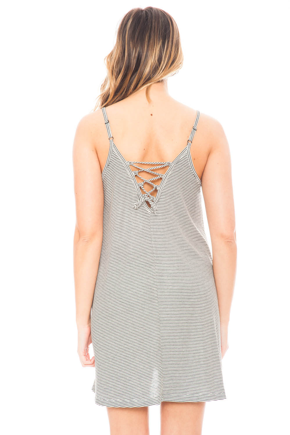 Dress - Striped Spaghetti Strap Dress with a Lace Up Back