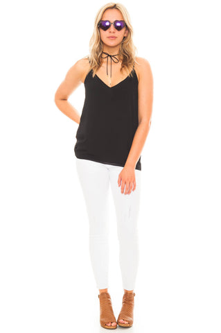 Tank - V-neck Chiffon Tank with Back Ruffle