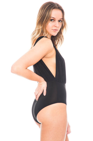 Bodysuit - Double Layer Deep V Bodysuit