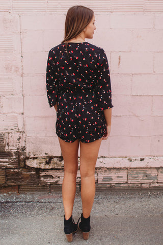 Romper - 3/4 Sleeve Floral Romper with Front Tie