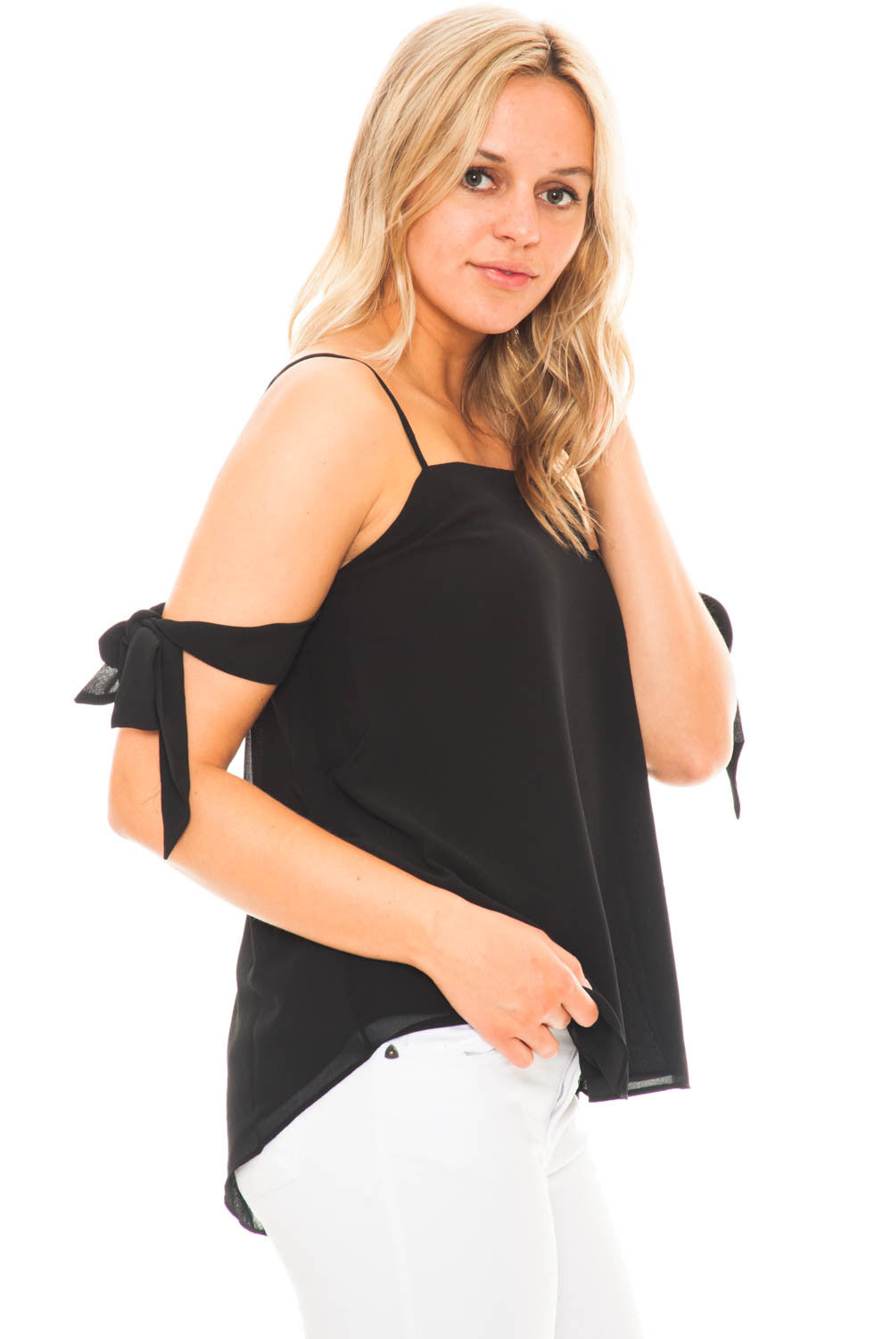 Blouse - Chiffon Bow Sleeve Top