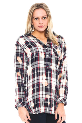 Tunic - 1/4 Button Up Bleached Out Plaid Top (Final Sale)