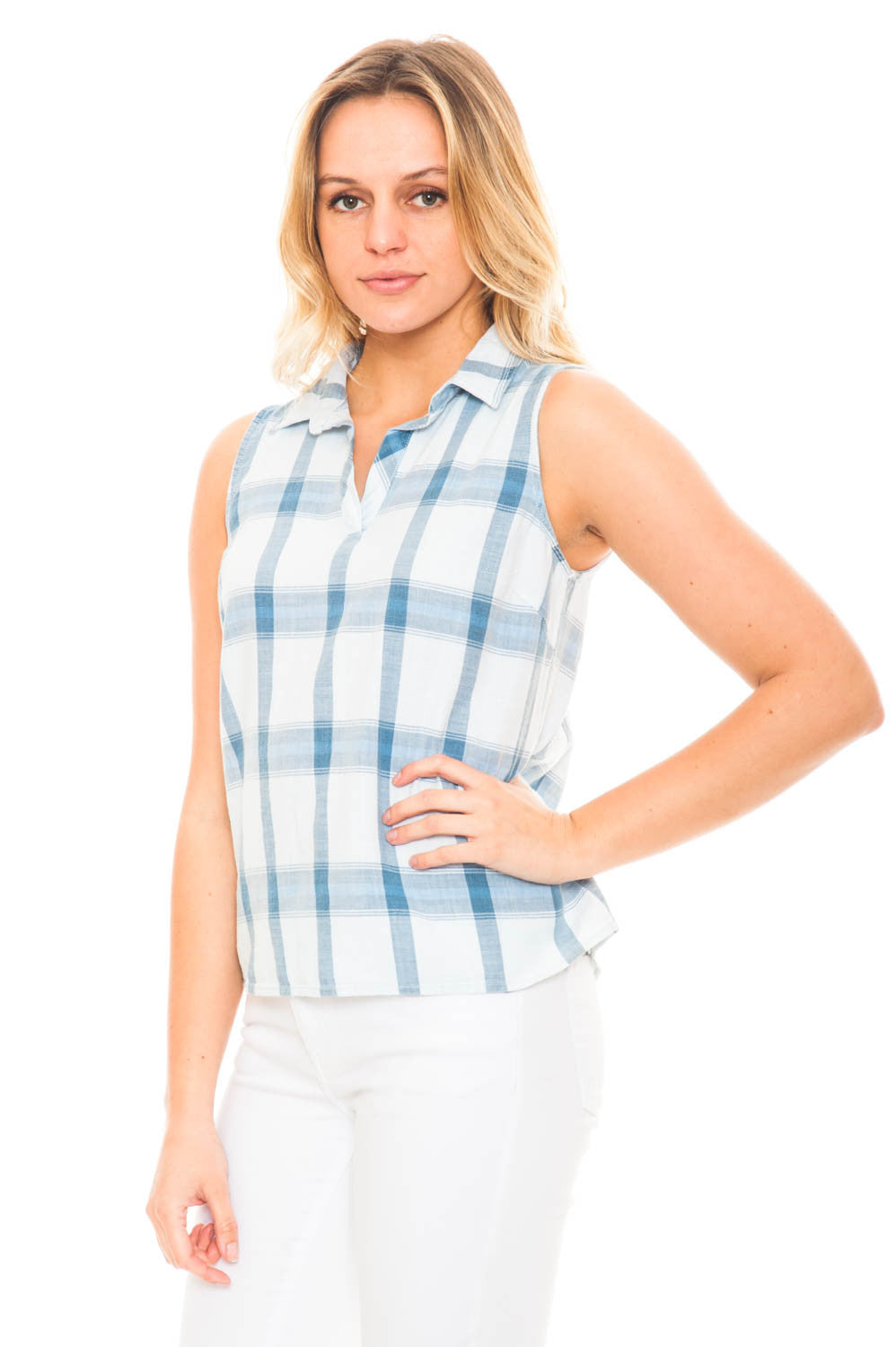 Tank - Plaid V-Neck Top with a Collar