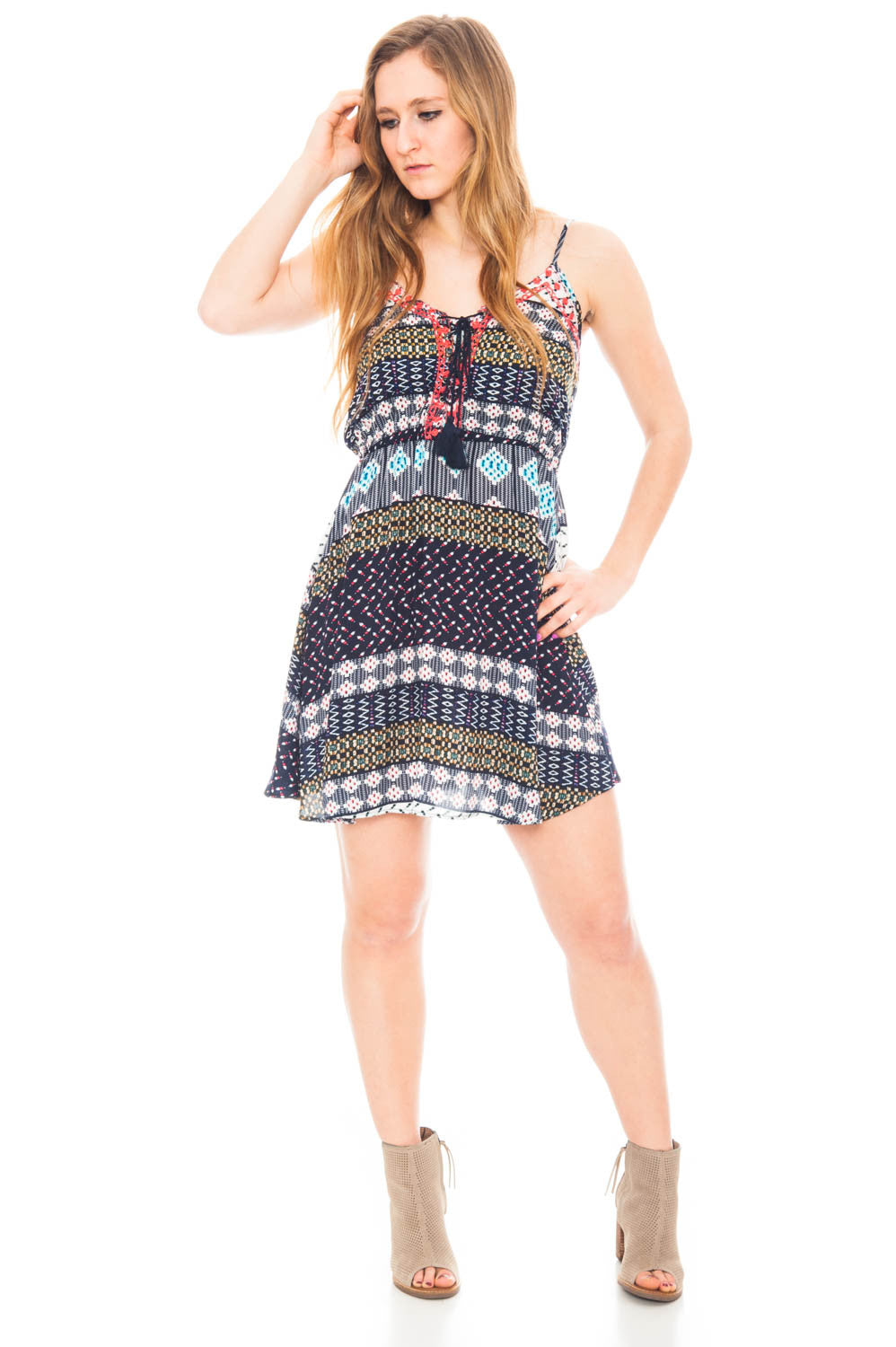 Dress - Empire Waist Dress with Lace Up Front and Tassels