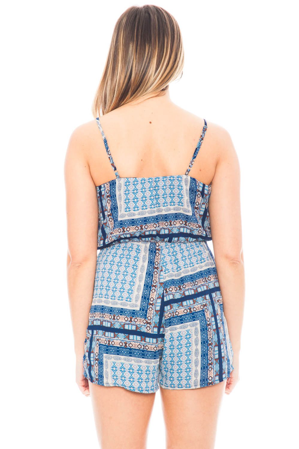 Romper - Printed V Neck Romper with Pockets by Everly