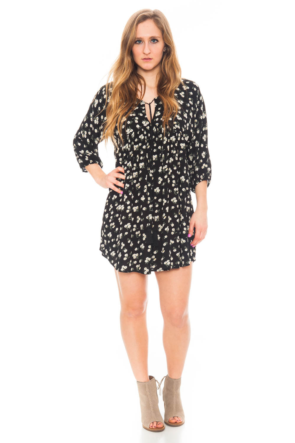Dress - Boho Tie Front Dress with Puffed Sleeves