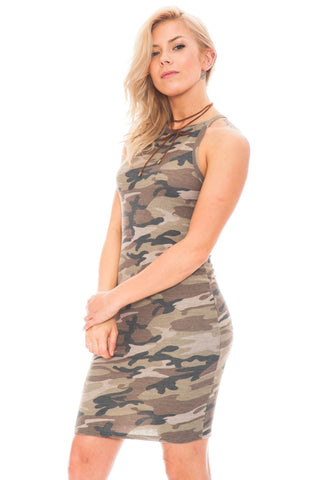 Dress - Camo Halter Neck Bodycon Dress