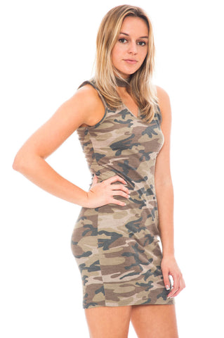 Dress - V-Neck Camo Choker Dress