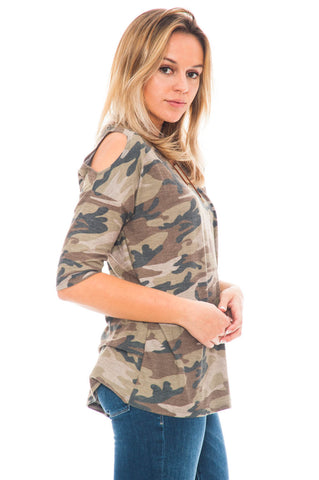Shirt - Camo Peep Shoulder Top