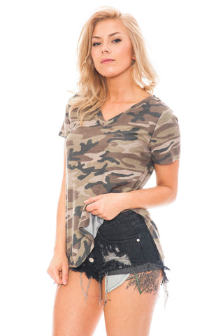 Shirt - Camo V-Neck Top