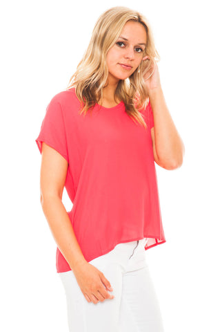 Shirt - The Perfect Pink Chiffon Top by Lush