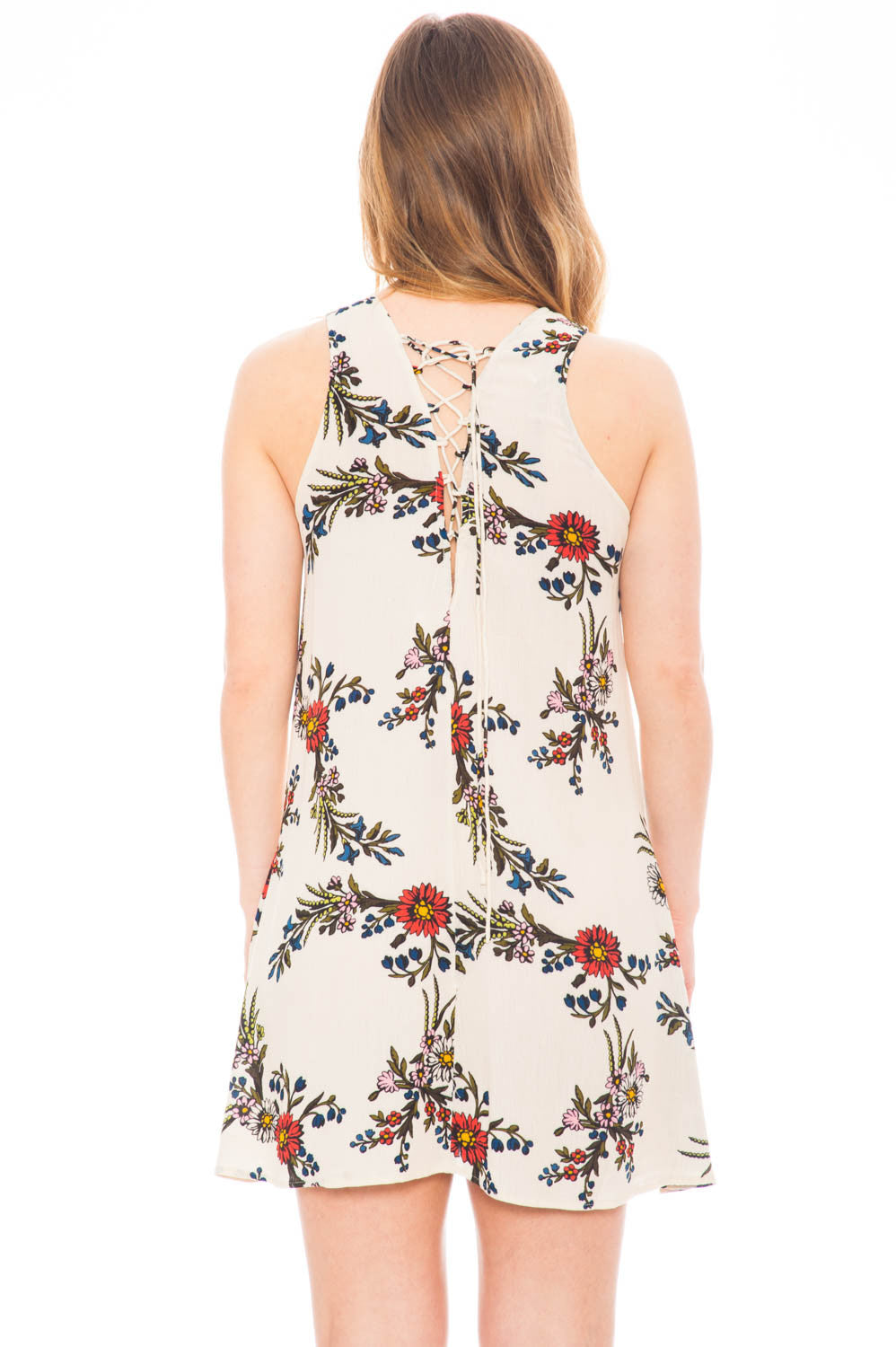Dress - High Neck Floral Dress with Lace Up Back