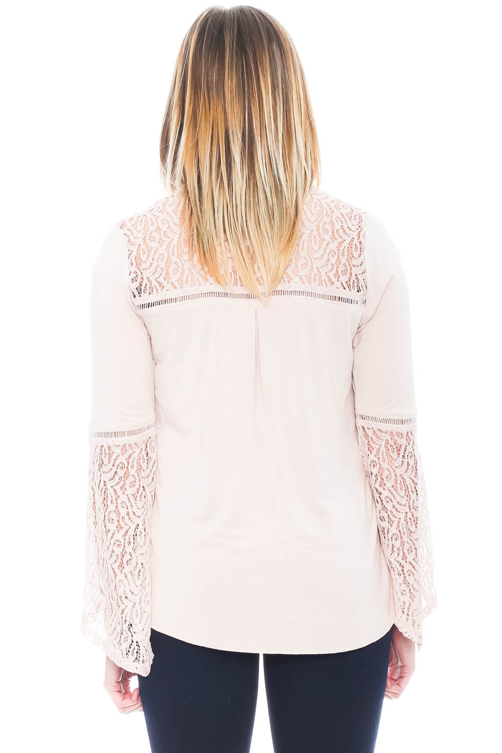 Shirt - Bell Sleeve Top with Criss-Cross Front By Democracy