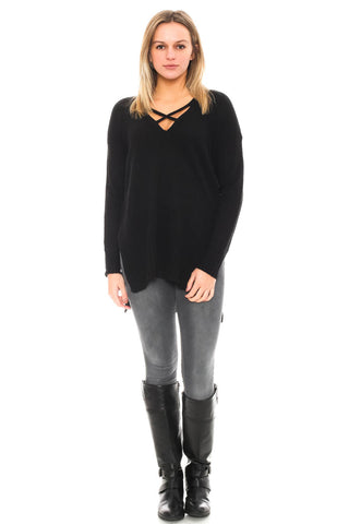 Sweater - High Low Criss-Cross Front Knit Top by Lush
