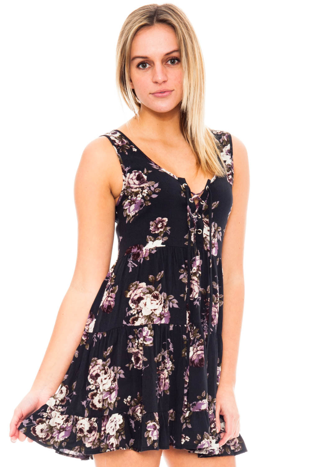 Dress - Floral with neckline lace-up detail