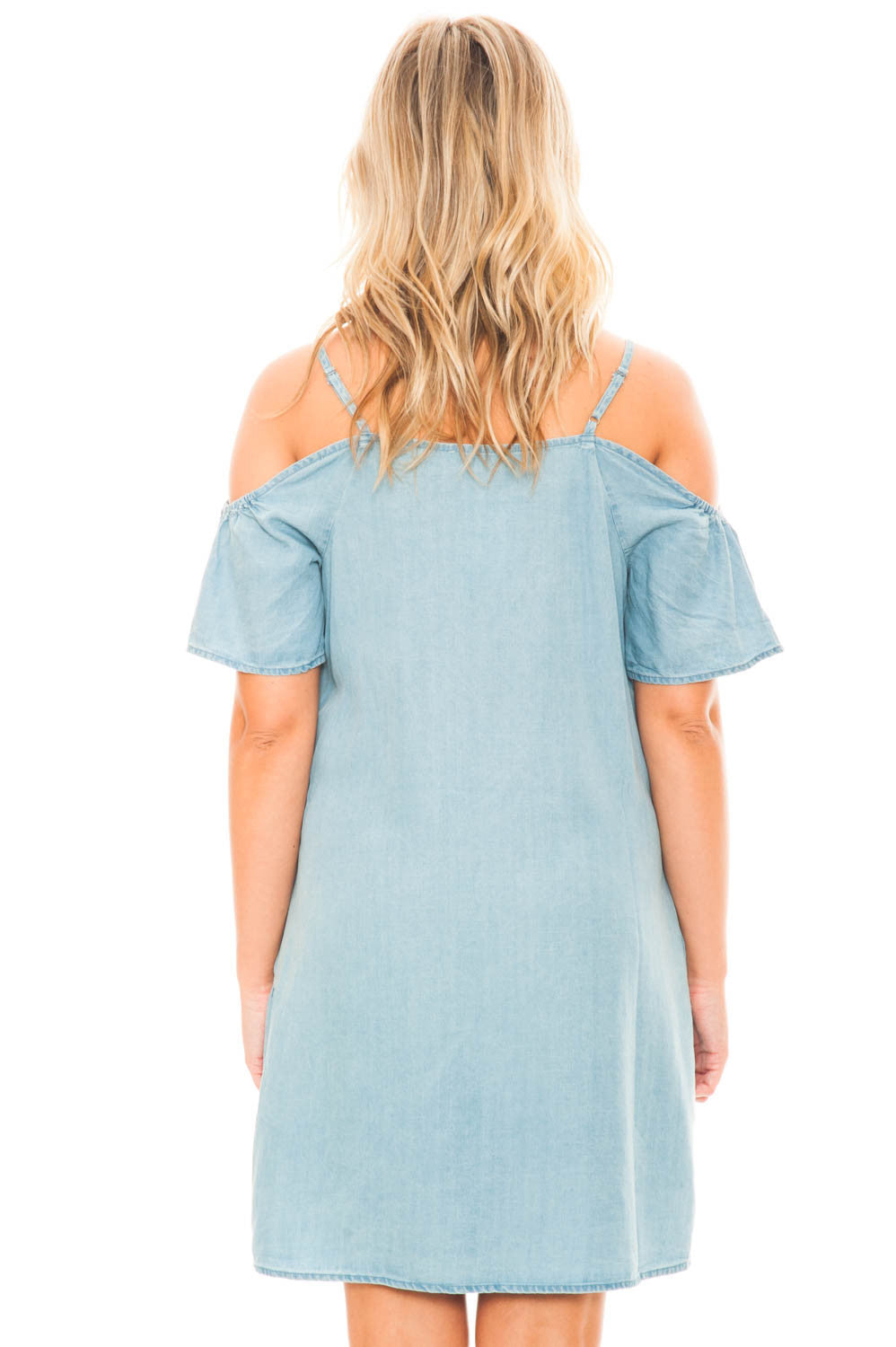 Dress - Embroidered Tensile Cold Shoulder Dress