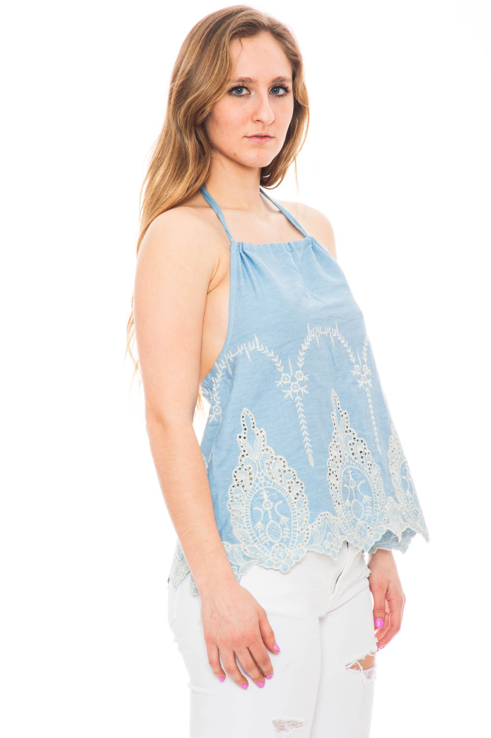Tank - Denim Halter Top with Embroidery Detail