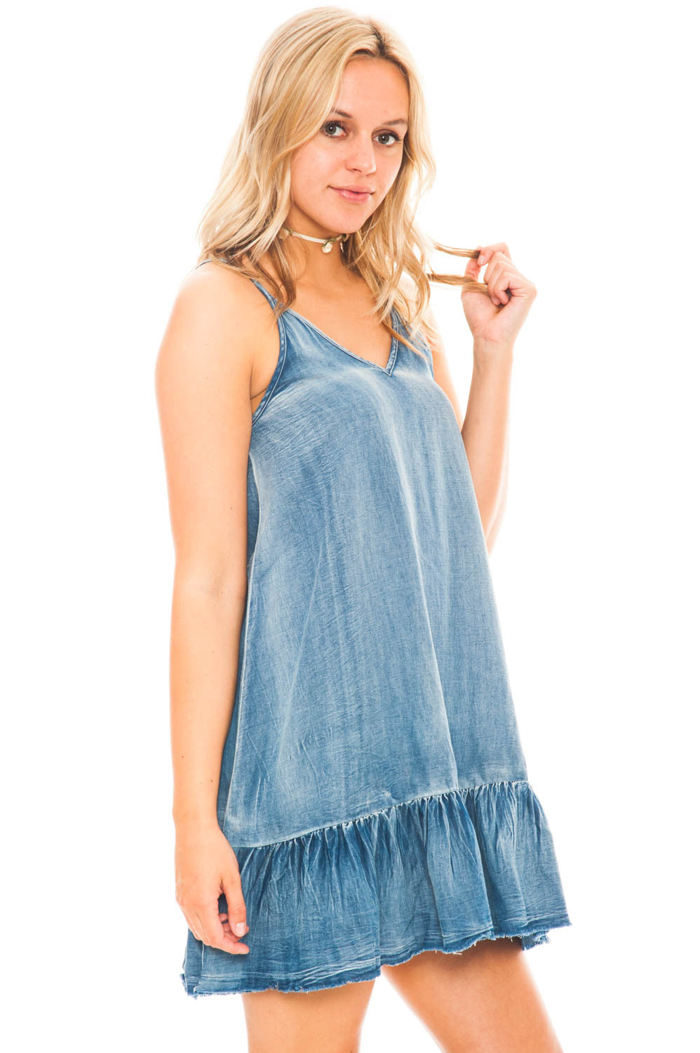 Dress - Boho Chic Denim Dress With Ruffle Hem