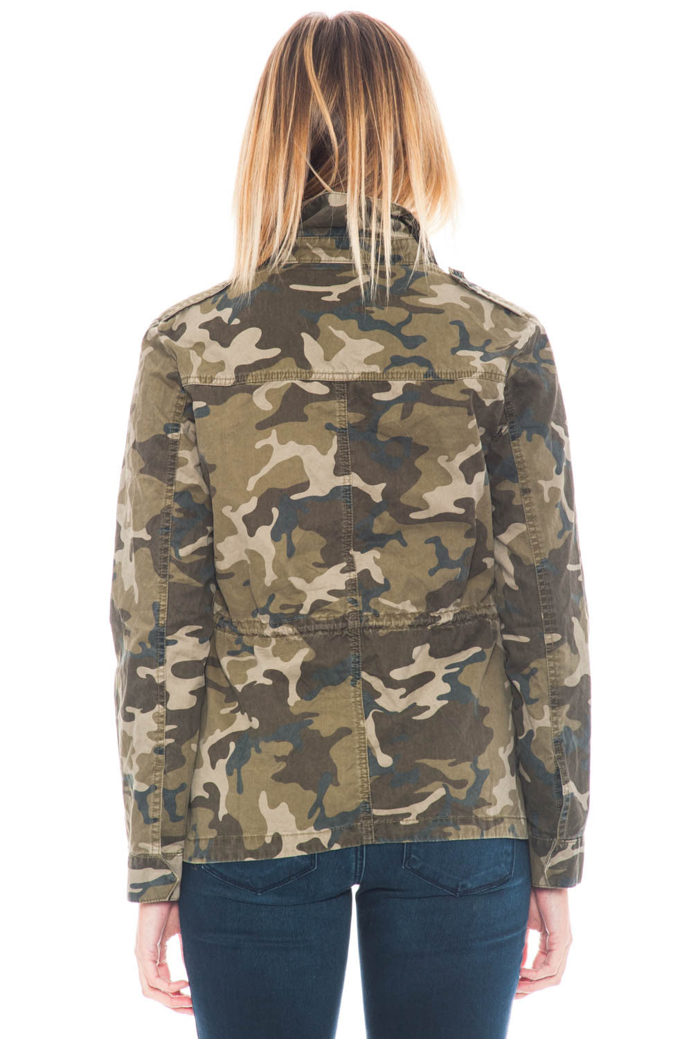 Jacket - Distressed Camo Utility with gold hardware