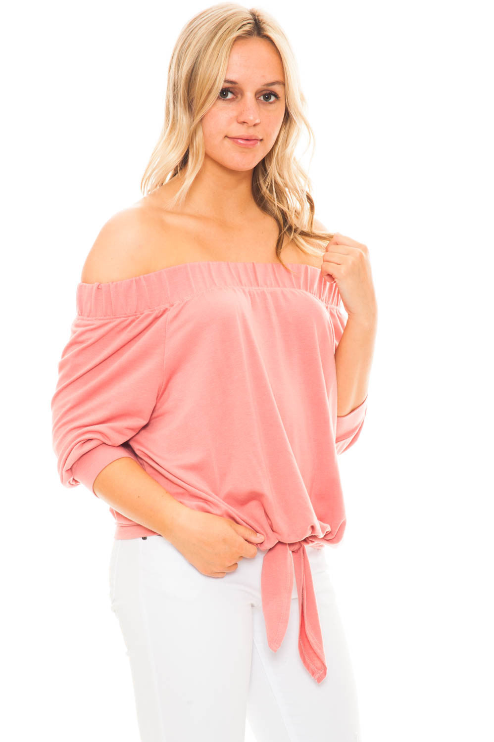 Blouse - Off Shoulder 3/4 Sleeve Top With Tie