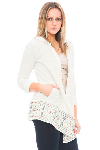 Cardi - Hooded Cardigan with Embroidery Detail on Hemline By Democracy