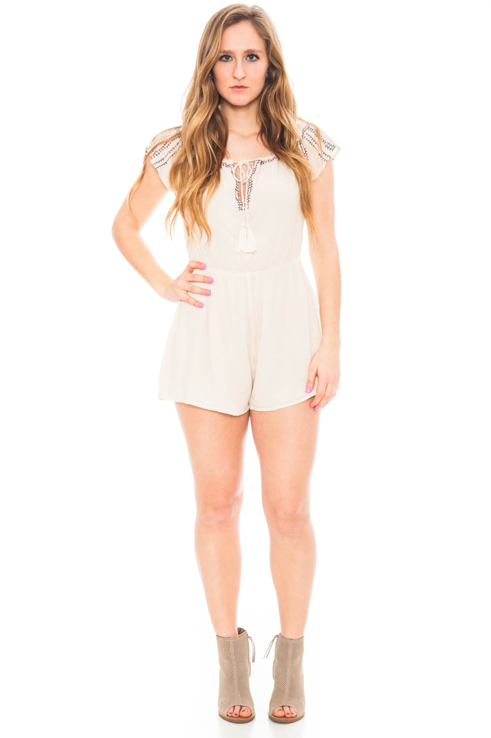 Dress - Off Shoulder Embroidered Romper with Tassels by Lush