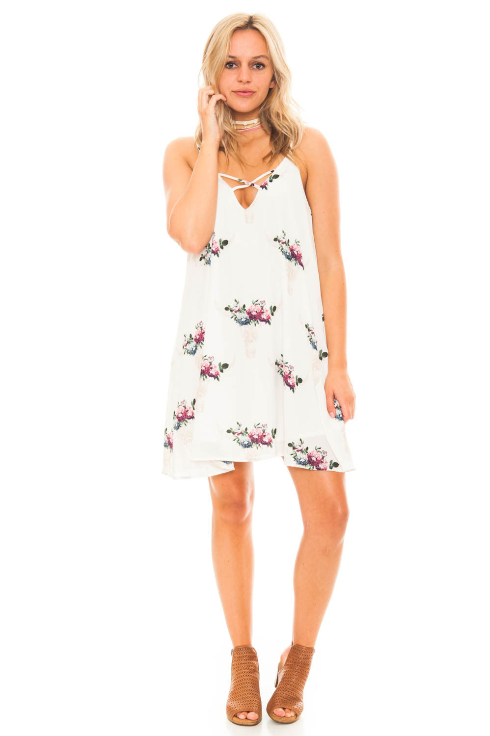 Dress - Bullhead Print Criss Cross Front Dress With Pockets