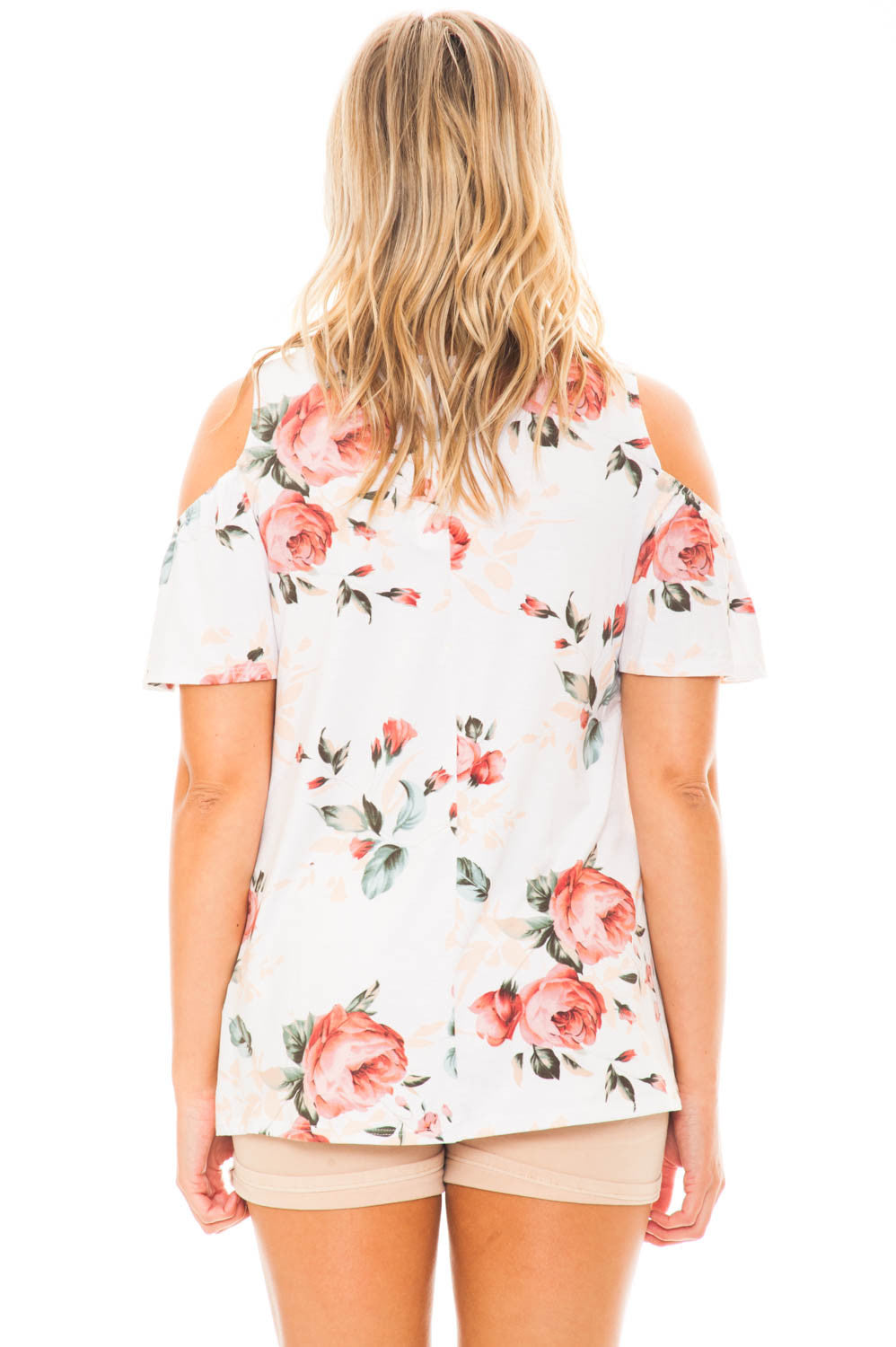 Blouse - Floral Cold Shoulder Top