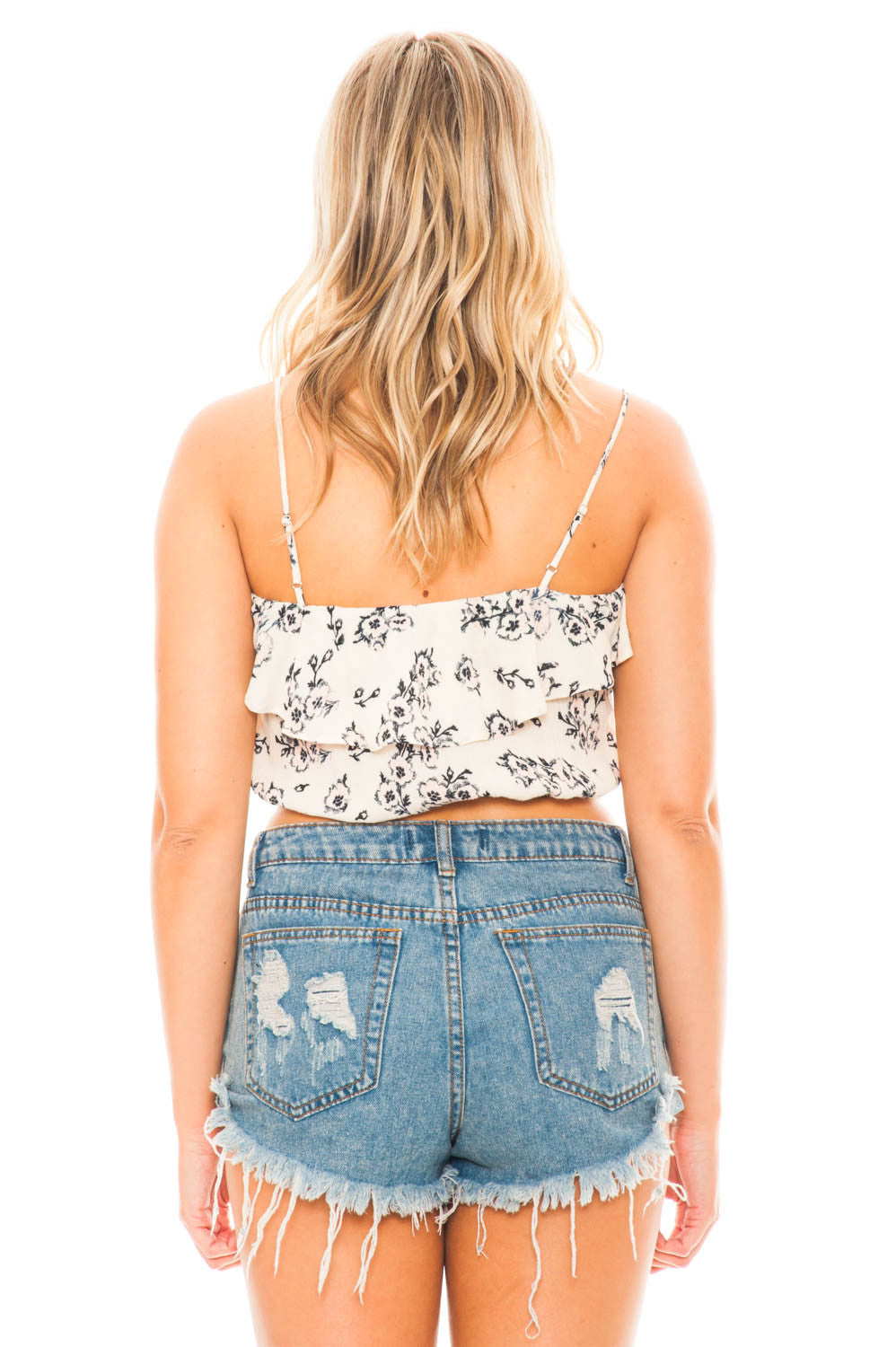 Top - Printed Ruffle Edge Top by Lush