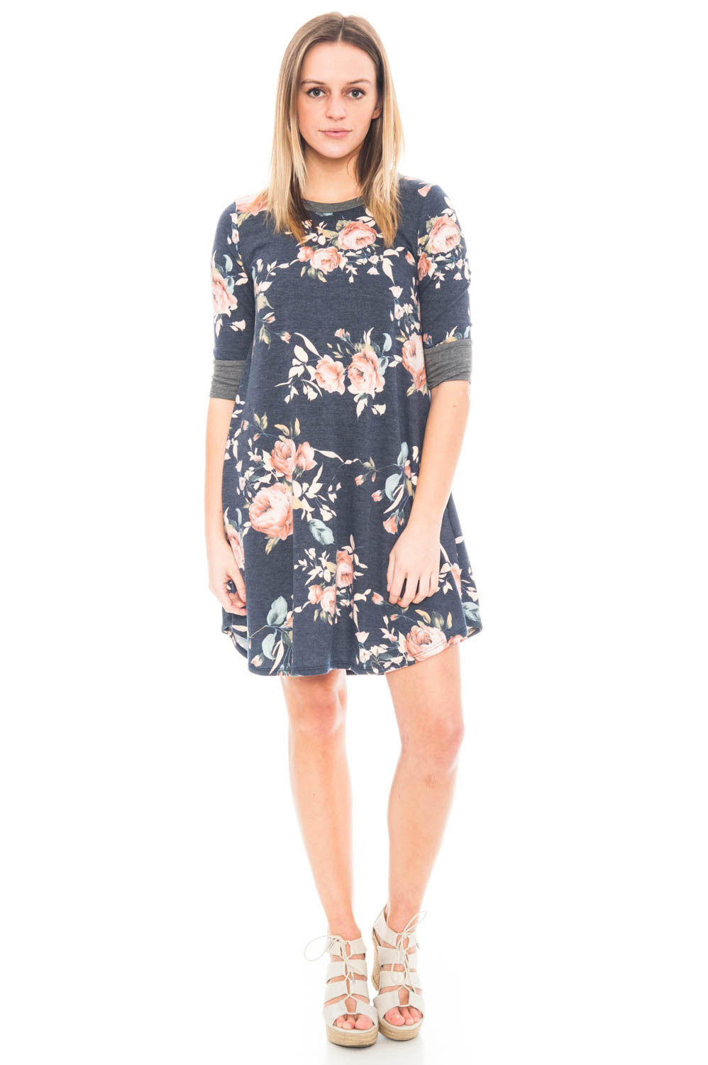 Dress - Floral Shift Dress with Pockets