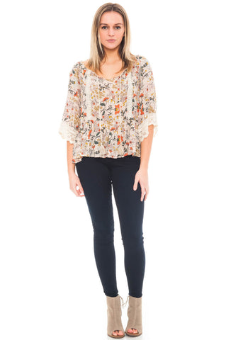 Blouse - Floral Peasant Top with a Bell Sleeve by Democracy