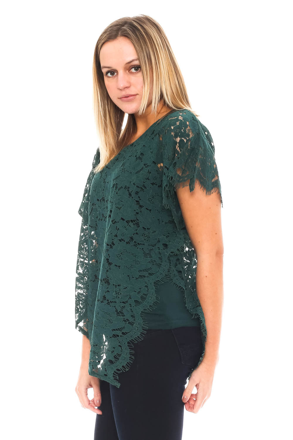 Blouse - Asymmetrical Lace Top by Democracy