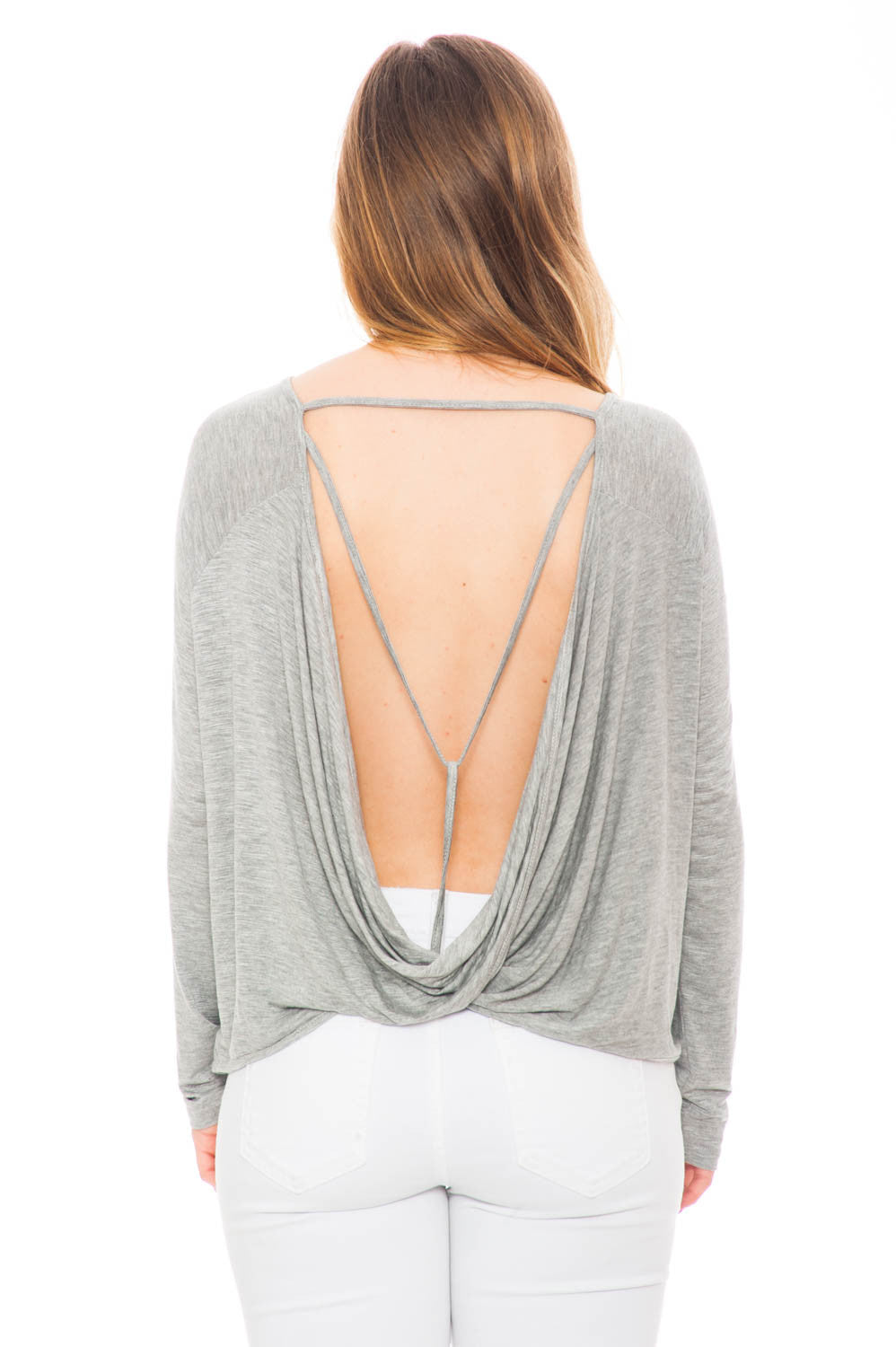 Shirt - Long Sleeve Top with an Open Back