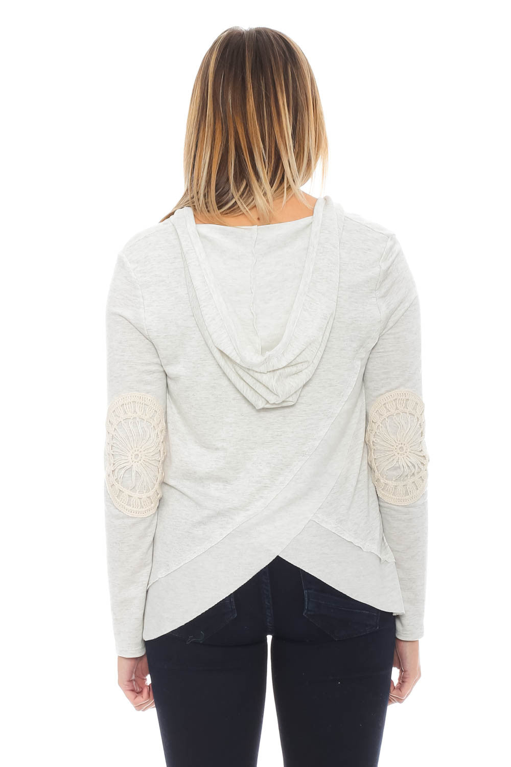 Sweater - Overlap Back Hoodie with Lace Elbow Patches by Paper Crane
