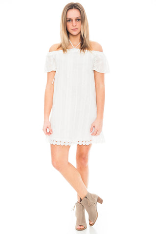 Dress - Embroidered Halter/Off Shoulder Dress by Everly