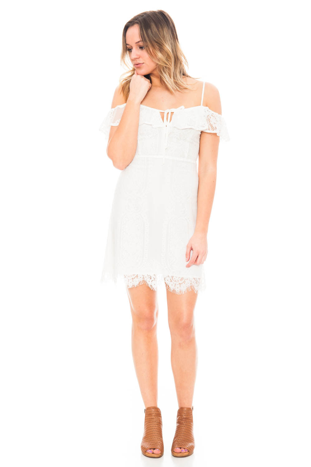 Dress - Lace Overlay Cold Shoulder Dress by Lush